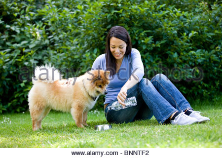 A woman sitting on the grass, pouring her dog a drink of water - Stock Photo