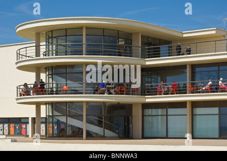 Exterior architecture details of the De La Warr Pavilion, Bexhill on Sea, East Sussex, England, GB, UK, EU, Europe - Stock Photo