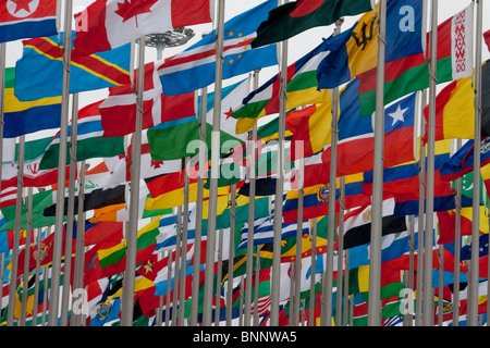 China Shanghai Expo world exhibit flags flags international travel traveling tourism vacation holidays - Stock Photo