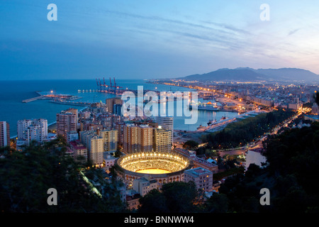 Spain Barcelona Catalonia Night water harbour port boats bullfight arena arena Andalusia Spain traveling tourism - Stock Photo
