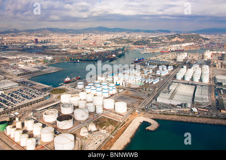 Spain Barcelona Catalonia overview harbour port town city tank camp tanks energy - Stock Photo