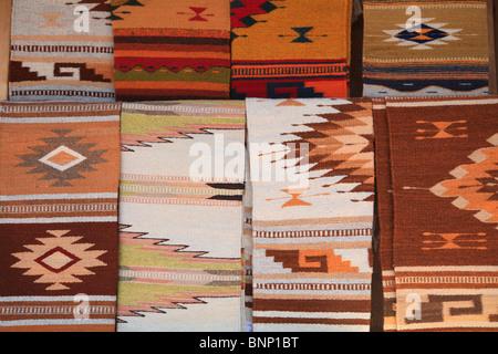 Native American Blankets, Santa Fe, New Mexico, USA - Stock Photo