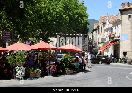 Saint Chinian a busy little town in the Languedoc wine region of southern France - Stock Photo