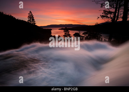 Dawn skies over Eagle Falls at Emerald Bay, Lake Tahoe, California, USA. - Stock Photo