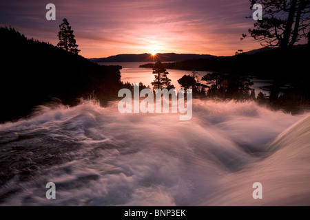 Sunrise at Eagle Falls above Emerald Bay, Lake Tahoe, California, USA. - Stock Photo