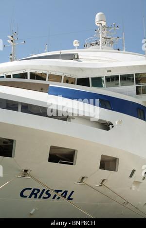 Cruise liner 'Cristal' alongside Kusadasi Turkey. - Stock Photo