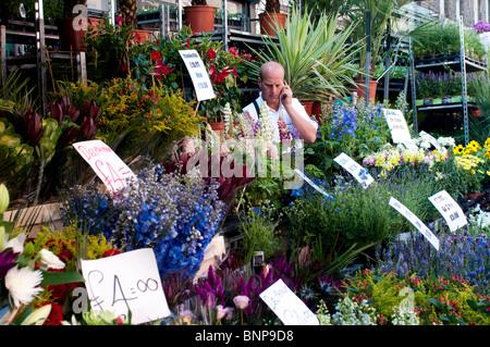 Seller talking on mobile phone, Columbia Road Flower Market, London, E2, England, UK - Stock Photo