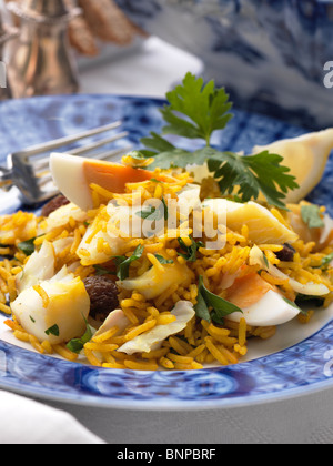 Individual portion of traditional kedgeree - Stock Photo