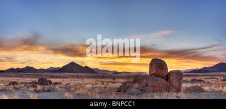 Panoramic of NamibRand Nature Reserve at sunset. Pro Namib Namibia - Stock Photo