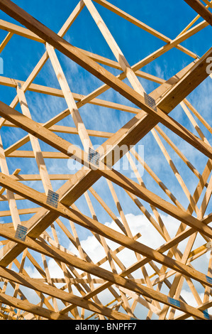 New house construction / prefabricated roof A-frames  - Indre-et-Loire, France. - Stock Photo