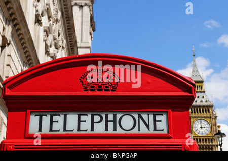 Red Telephone Box with Big Ben, Parliament Square, London, England, UK - Stock Photo