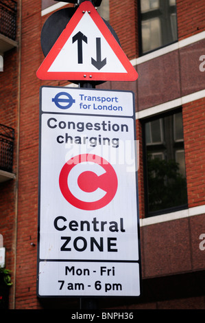 Congestion Charging sign in Victoria, London, England, UK - Stock Photo
