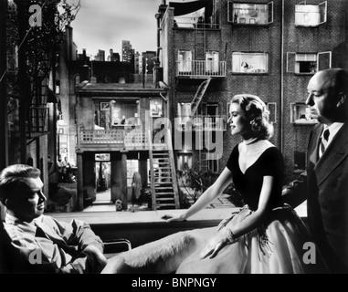 JAMES STEWART, GRACE KELLY, ALFRED HITCHCOCK, REAR WINDOW, 1954 - Stock Photo
