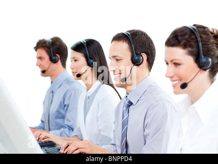 Self-assured customer service representatives team - Stock Photo