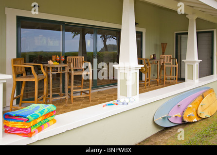 Oceanfront Lanai with Reflection of View. - Stock Photo