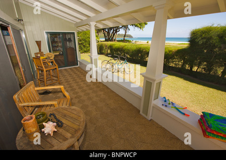 Tropical Lanai and Oceanfront View - Stock Photo