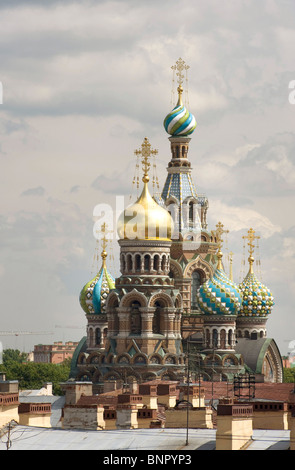 Onion domes of the Cathedral of the Resurrection of Christ, Saint Petersburg, Russia - Stock Photo