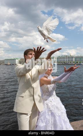 Bridal couple at Neva river, Saint Petersburg, Russia - Stock Photo
