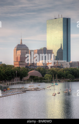 The Boston skyline including the John Hancock building, as seen over the Charles River from the Longfellow Bridge. - Stock Photo