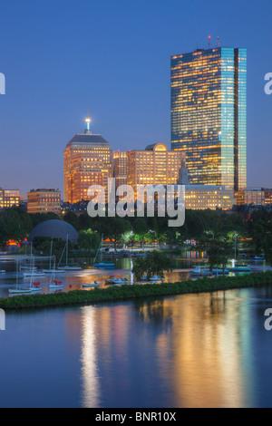 Twilight view of the Boston skyline including John Hancock Building as seen from the Longfellow Bridge.