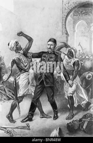 Vintage print depicting the death of British General Charles Gordon in January 1885 following the Siege of Khartoum - Stock Photo
