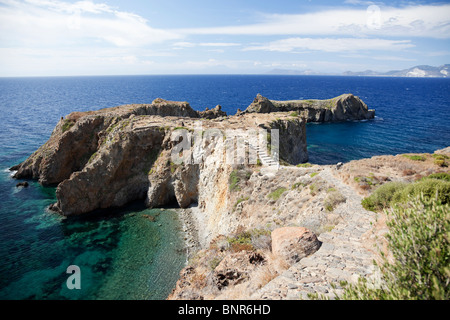 Prehistory site on headland Punta Milazzese located in southern coast of island Panarea of Aeolian Islands. - Stock Photo