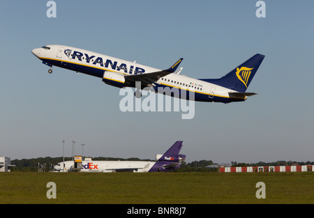 Ryanair Boeing 737-8AS taking off at Stansted Airport, Essex, England, United Kingdom - Stock Photo