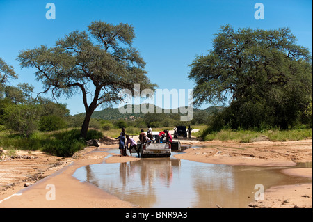 Pickup car stuck crossing a sandy river Grootberg in northern Namibia - Stock Photo