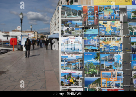 Rack of picture postcards in Toulon, France - Stock Photo