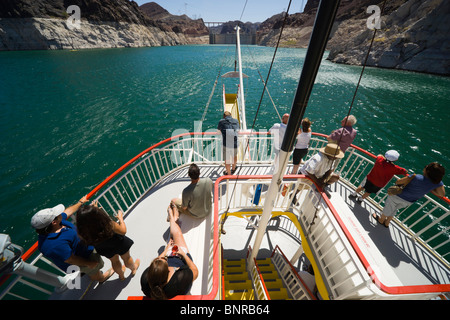 USA Nevada - Lake Mead excursion paddle boat Desert Princess. Passengers enjoy drinks and sunshine on the bow deck. - Stock Photo