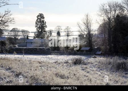 Farm in the snow North Yorkshire - Stock Photo