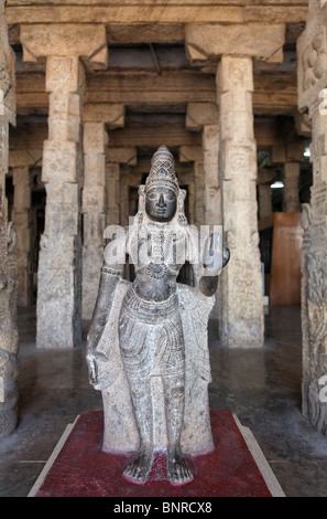India - Tamil Nadu - Madurai - sculptures inside the Sri Meenakshi temple - Stock Photo