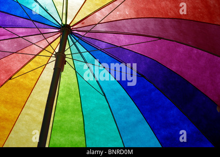 Rainbow colored sun umbrella at the beach against clear blue sky. - Stock Photo