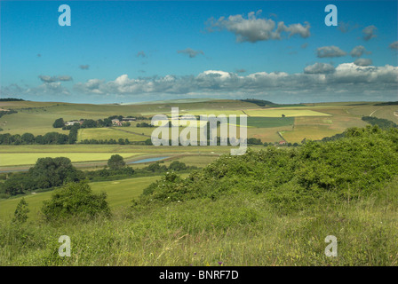 A view to the South Downs National Park near Lancing Hill from Mill Hill near Shoreham by Sea, West Sussex. - Stock Photo