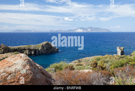 Overlooking island Lipari and Vulcano of Aeolian Islands from island Panarea. - Stock Photo