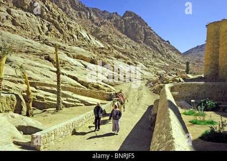 Local life outside St. Catherine's Monastery in the rocky mass of Sinai. - Stock Photo