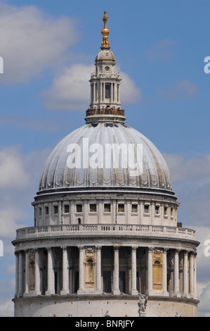 Tourists on viewing platform of Golden gallery on the dome of St Pauls cathedral London - Stock Photo
