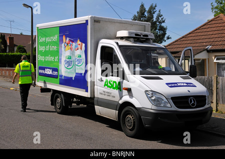 Asda home delivery van with advertising for clean water provision ...