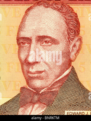 Edward James Roye (1815-1872) on 5 Dollars 2003 Banknote from Liberia. Fifth President of Liberia during 1870-1871. - Stock Photo