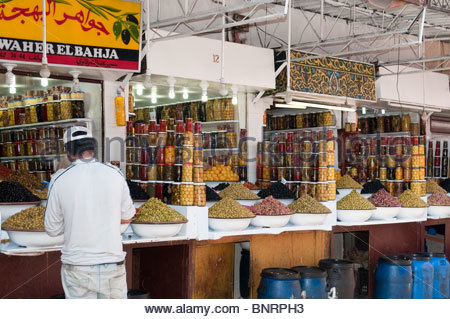 Olives and Preserved Lemons For Sale in a Moroccan Market - Stock Photo
