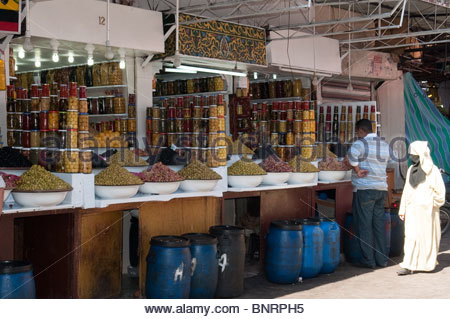Olives and Preserved Lemons For Sale in the Meknes Morocco Market - Stock Photo