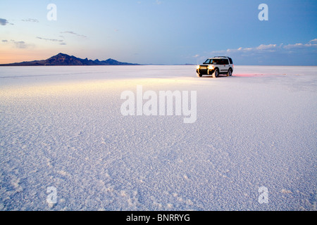 Exploring the Bonneville Salt Flats, Utah. - Stock Photo