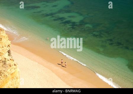one of Algarves best beaches, Praia da Marinha near Carvoeiro in Portugal, Europe - Stock Photo