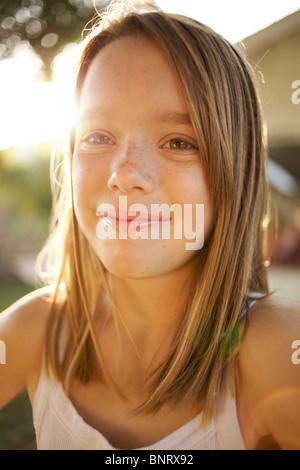 Closed up shot of a young pretty girl. - Stock Photo