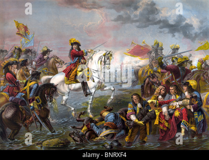 William III (William of Orange) leading his army to victory over James II in the Battle of the Boyne in Ireland - Stock Photo