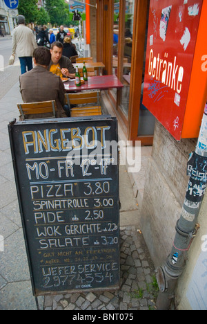 Snack bar exterior Friedrichshain east Berlin Germany Eurore - Stock Photo