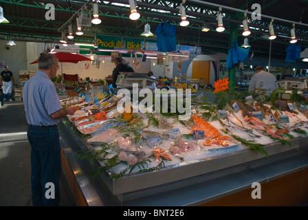 Seafood stall at Marche des Enfants Rouges market Le Marais district Paris France Europe - Stock Photo