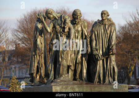 Directly in front of the Calais town hall is a cast of the statue The Burghers of Calais (French Les Bourgeois de - Stock Photo