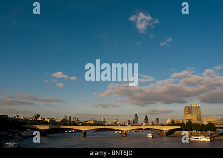 South Bank , Waterloo Bridge and the river Thames from Hungerford Bridge, 18 August 2009. - Stock Photo