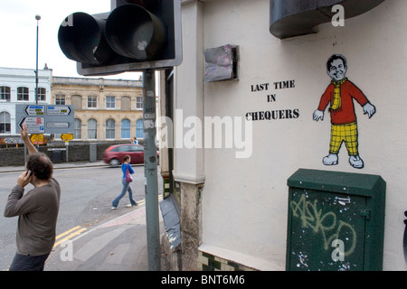 Graffiti by Nick Walker,  depicting Tony Blair dressed as Rupert Bear with the writing 'Last Time in Chequers' Bristol, - Stock Photo